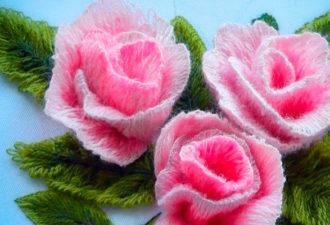 Как вышивать трехмерные лепестки для роз: цветы, как настоящие