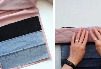 Полезная и стильная вещь, сшитая из старых джинсов и ткани