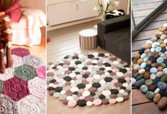 Крутые коврики-пазлы, собранные из вязаных и тканевых деталей