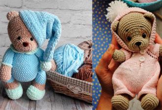 Мишка в пижаме: вяжем милую игрушку крючком