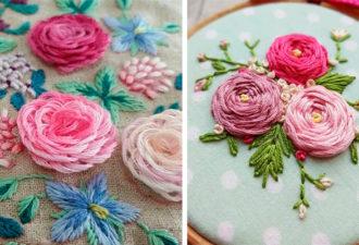 Турецкий шов и шов «Паутинка»: вышиваем объемные цветы