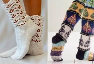 Красивые вязаные носки: 40 идей для вязания спицами