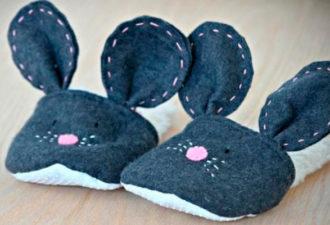 Тапочки в виде мышки