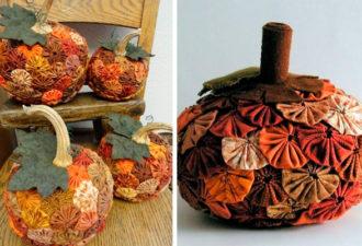 Осенние поделки йо-йо из ткани с цветами