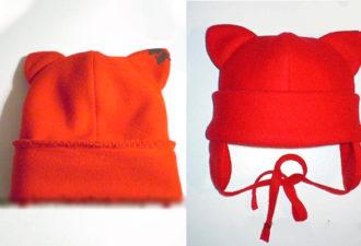 Зимняя детская шапка с ушками из флиса