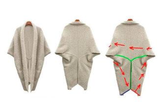 Как связать и сшить модный кардиган-кокон из прямоугольного полотна