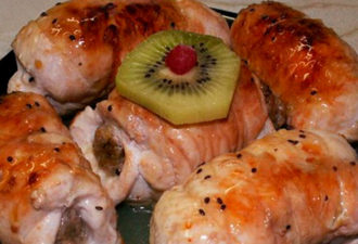 Быстрые и сочные рулетики из курицы с грибaми