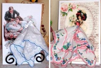 Авторскиe открытки с использованием платочков