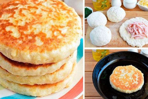Сырные лепешки с начинкой на кефире. Быстрые и очень вкусные!