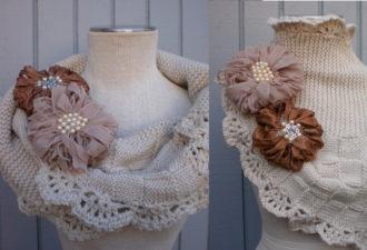 Оригинальный шарф-снуд спицами