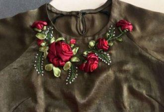 Декор блуз и маечек: вышивка лентами