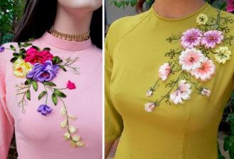 Вышитые цветы на одежде: красивые идеи для творчества