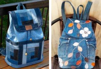 Варианты рюкзаков из джинсовой ткани