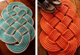 Морской коврик из верёвки или джута: идеи и схемы плетения