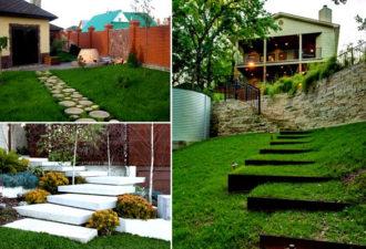 Примеры удивительных лестниц и дорожек, которые подойдет для оформления вашего участка