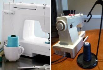 Разные способы использования больших катушек с нитками на машинках