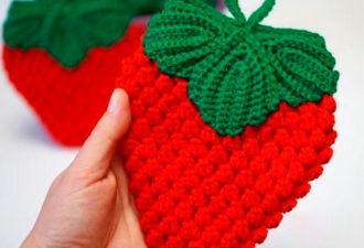 Прихватка ягодка крючком