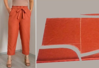 Как просто сшить укороченные брюки со сборкой на талии и сделать выкройку