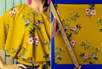 Легкая летняя блуза с примитивным кроем: даже мерки снимать не придется!