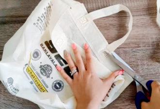 Пара трюков и дешёвая нетканая сумка шоппер становится красивой и полезной в хозяйстве вещью