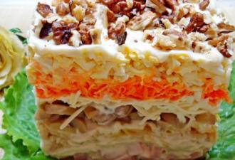 Слоеный салат «Любимый» с ветчиной и грибами